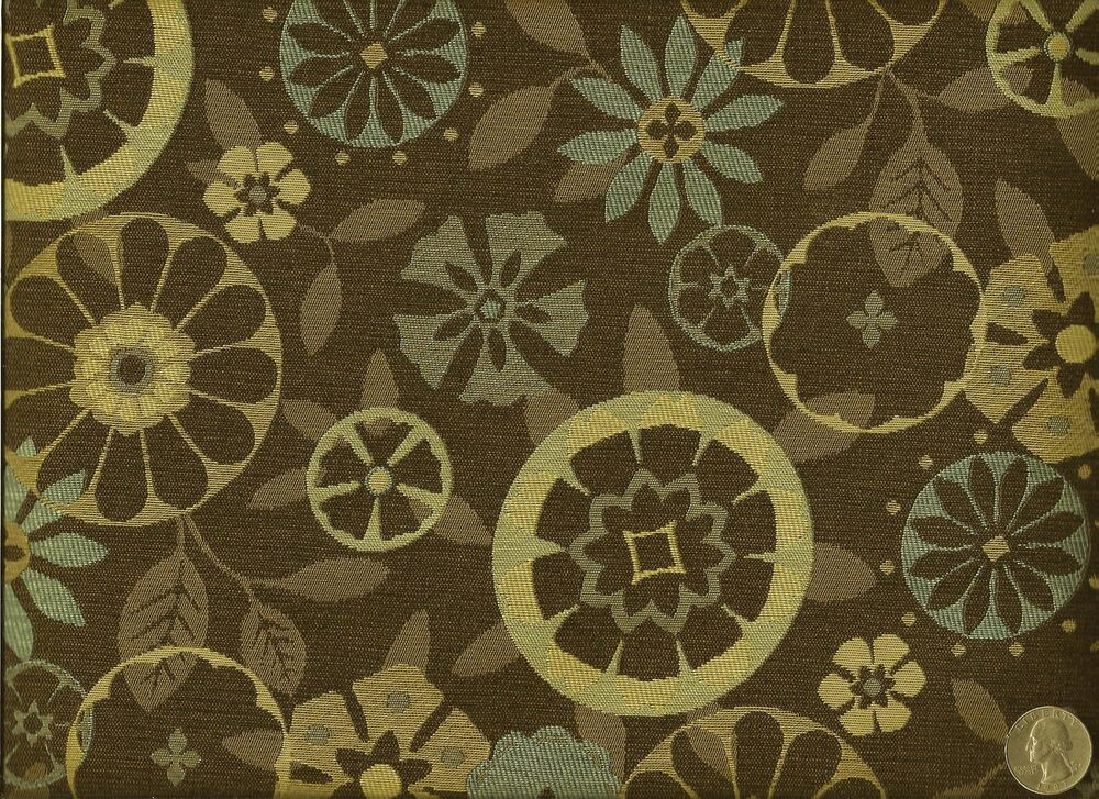 Momentum trove root mid century modern retro floral browns for Floral upholstery fabric