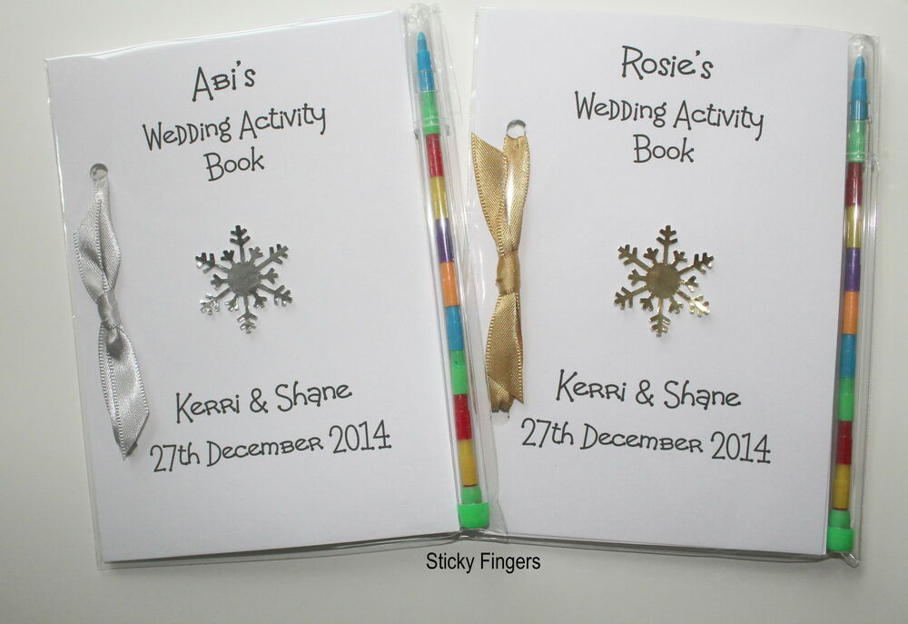 Personalised Wedding Gift Book : Personalised Winter Wedding Snowflake Childrens Activity A6 Book Gift ...