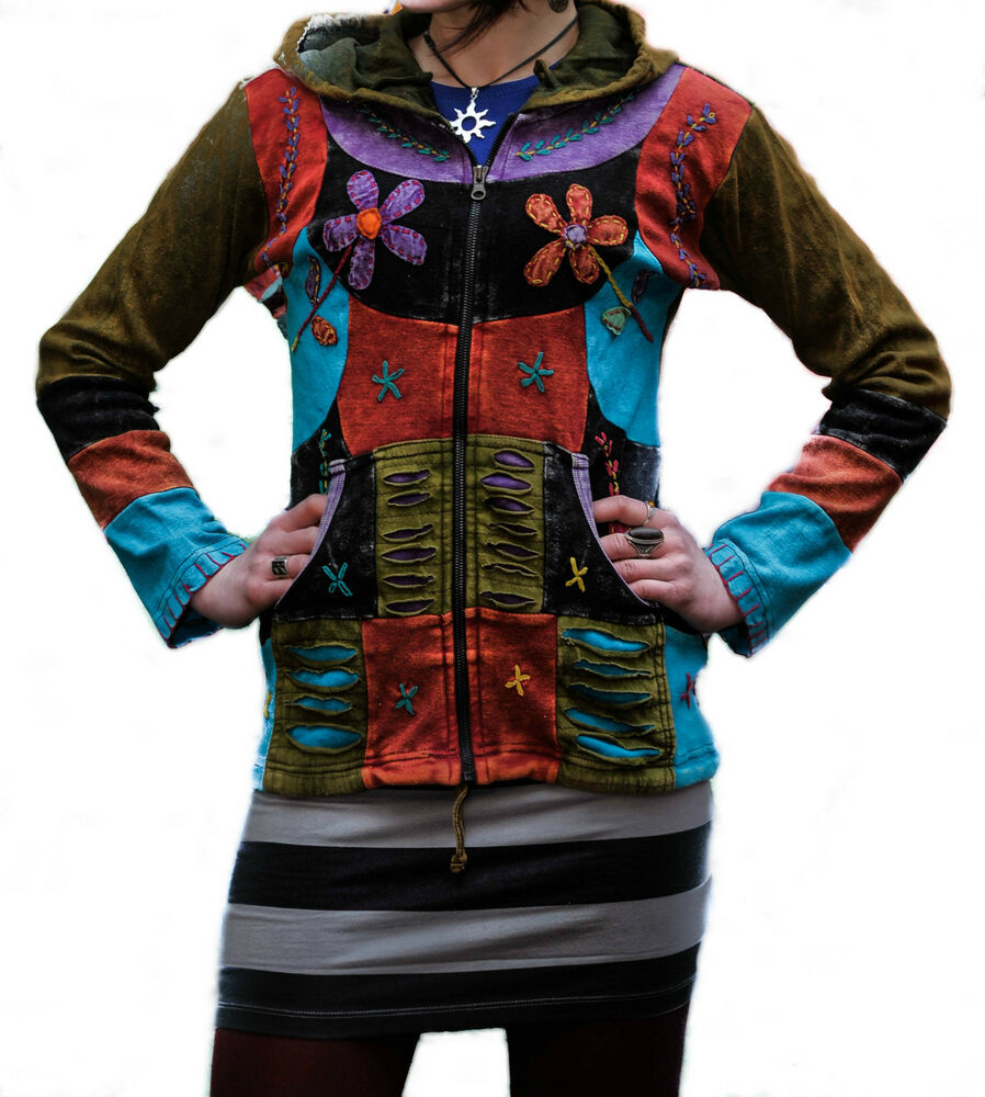 pixie hooded flower embroidery hippy style jacket hippie clothes boho colourful ebay. Black Bedroom Furniture Sets. Home Design Ideas