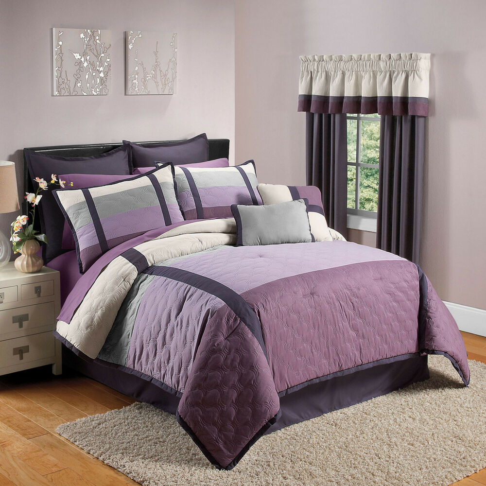sale 8pc king size oversized purple and grey comforter set ebay. Black Bedroom Furniture Sets. Home Design Ideas
