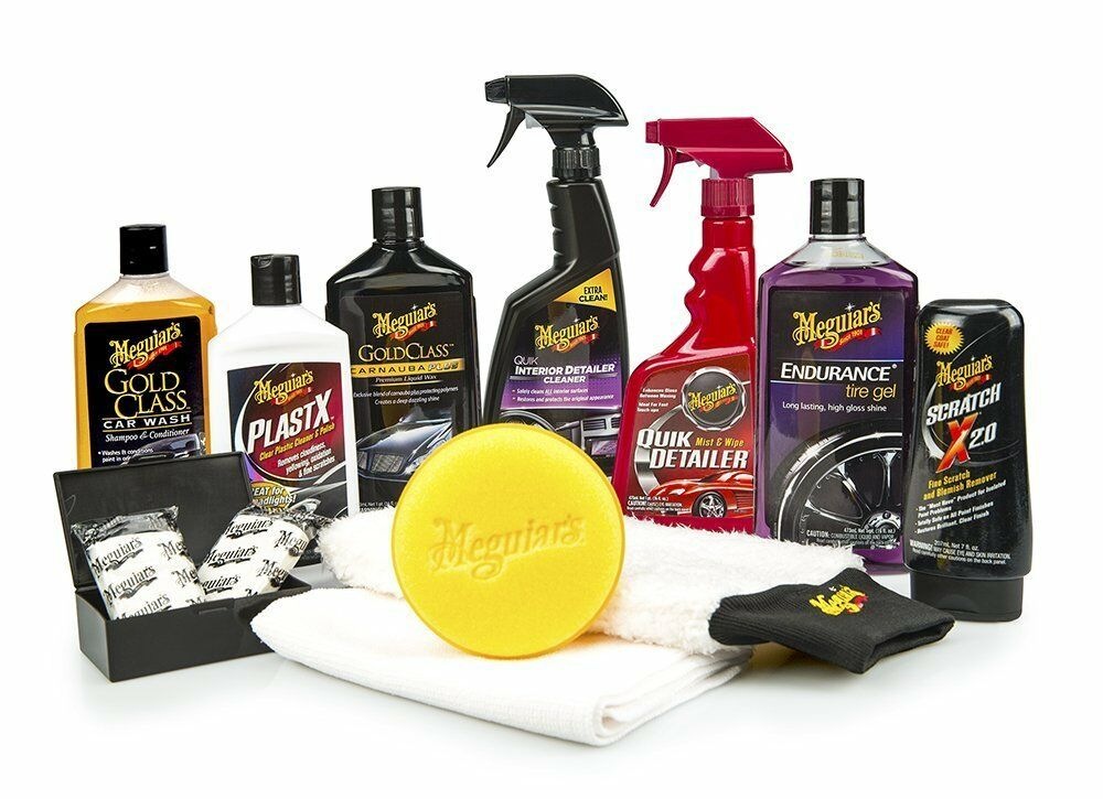 meguiar 39 s complete car care kit professional detail auto waxing cleaning kit new ebay. Black Bedroom Furniture Sets. Home Design Ideas