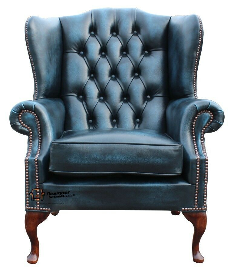 wing queen anne high back fireside chair antique blue leather ebay