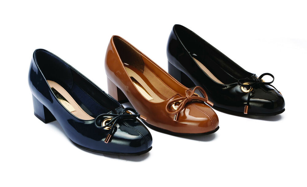 Womens Ladies Wide Fit Patent Party work Court Shoe Low ...