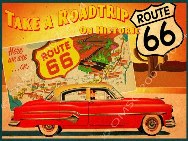 American Historic Route 66 Road Map Metal Sign 1950 39 S