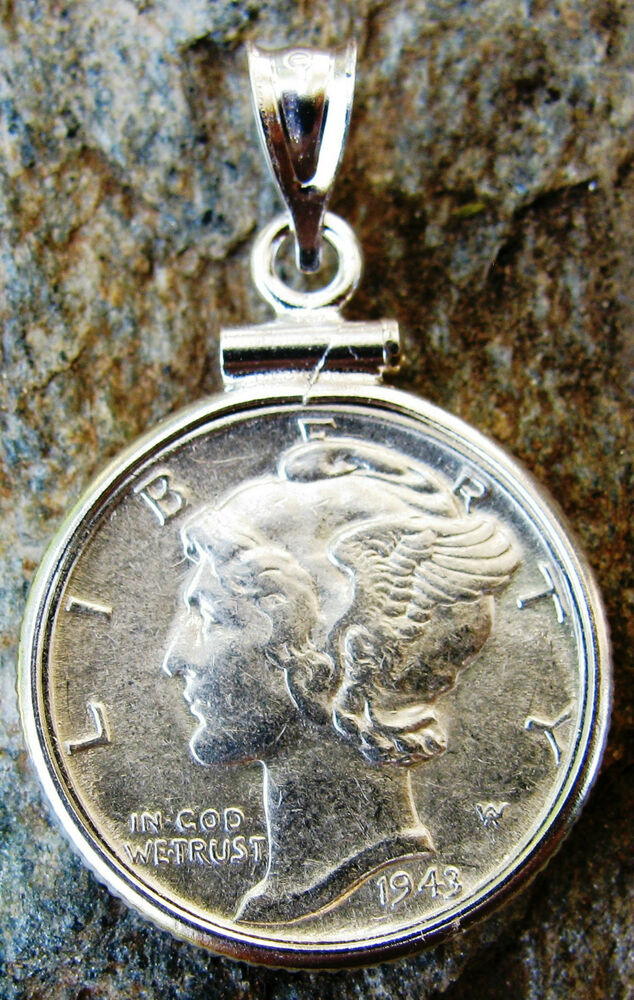 Genuine Silver Mercury Dime Coin Pendant Made In The Usa