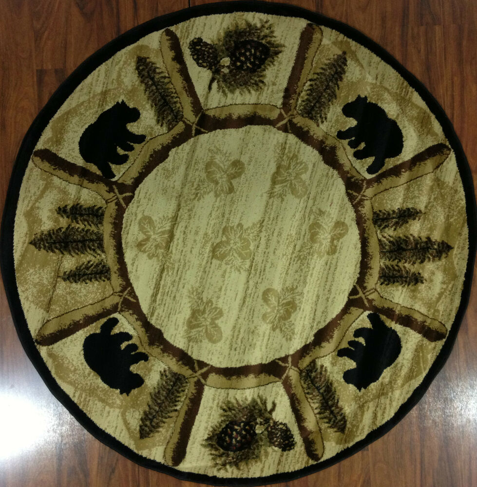 8' Round Bear Lodge Cabin Southwest Area Rug Pine Black