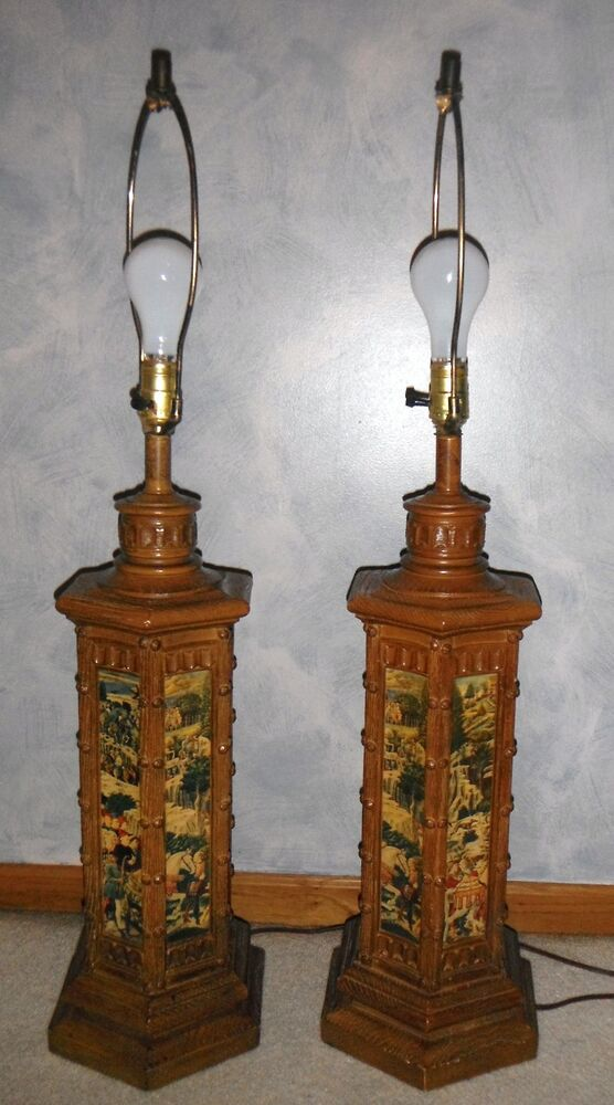 vintage colonial renaissance lamps large table lamps rare. Black Bedroom Furniture Sets. Home Design Ideas