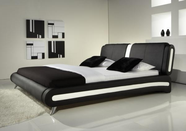 Modern double or king size leather bed black white memory foam mattress beds ebay - Look contemporary luxury bedding ...