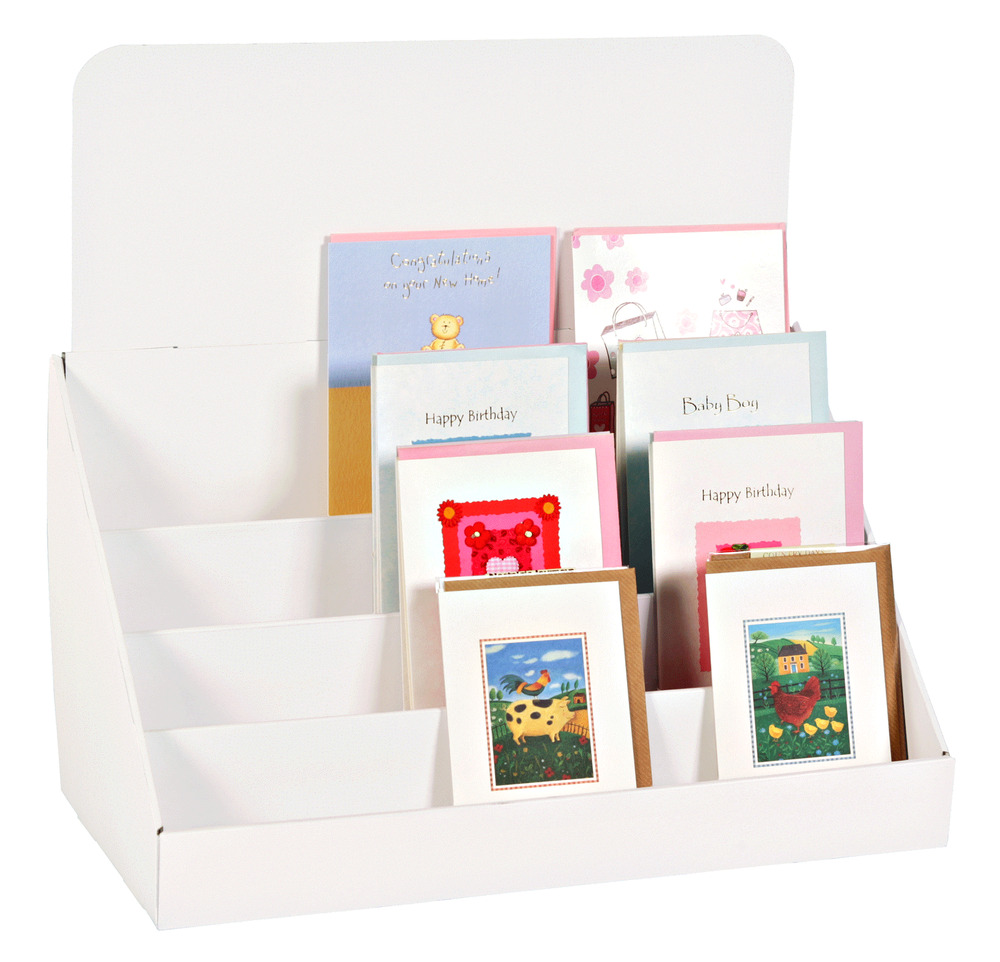 Cardboard Counter Top Display Stand For Greeting Cards