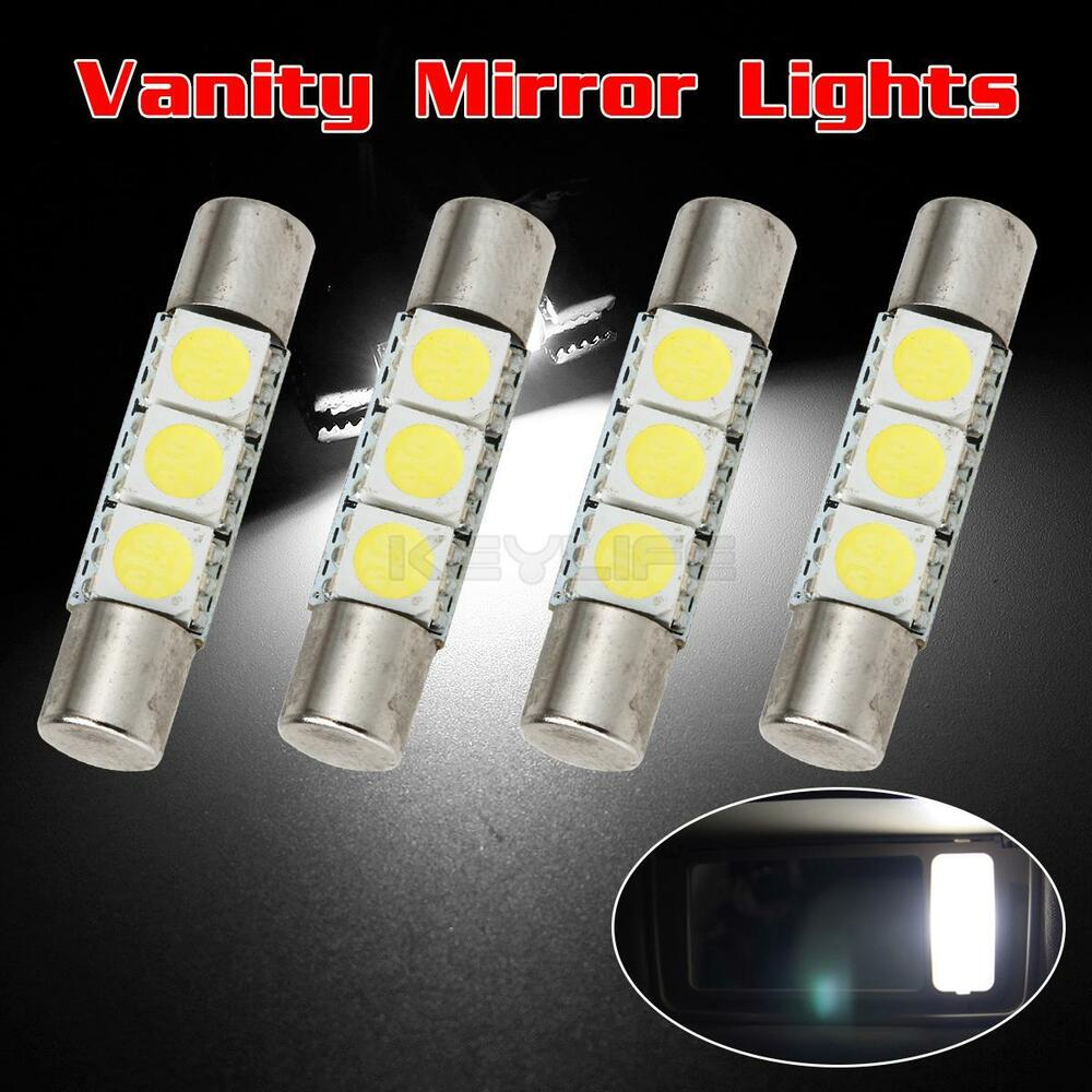 4pcs white 5050 3 led car interior vanity mirror lights sun visor lamps 12v 192840180742 ebay. Black Bedroom Furniture Sets. Home Design Ideas