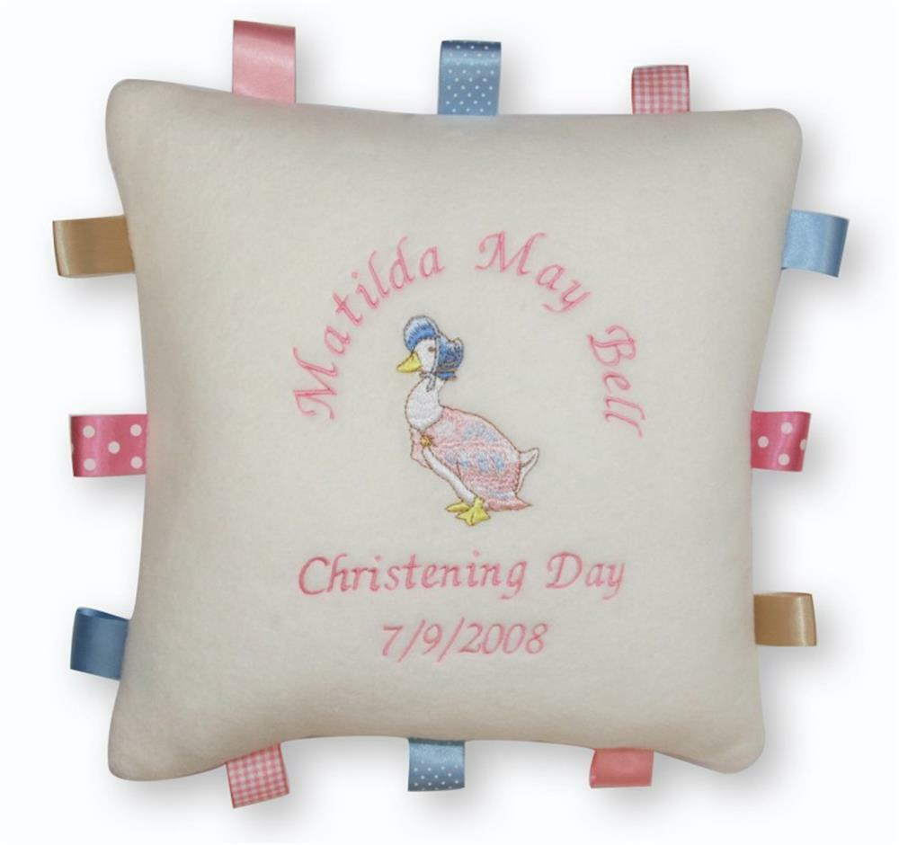 Personalised Baby Gift Tags Uk : Jemima puddle duck baby tag cushion personalised new