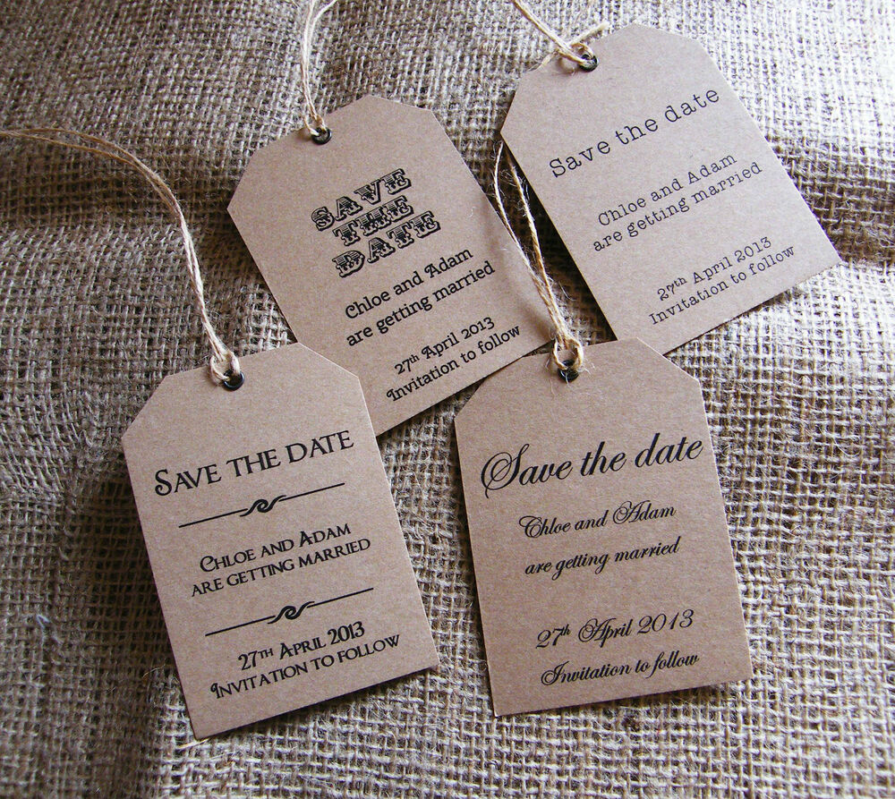 Wedding Save The Date Vintage Style Luggage Label Tags