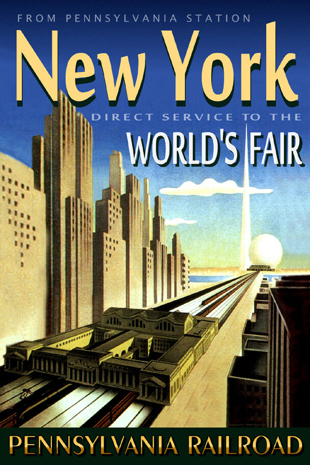 pennsylvania railroad new york worlds fair train station poster art print 023 ebay. Black Bedroom Furniture Sets. Home Design Ideas