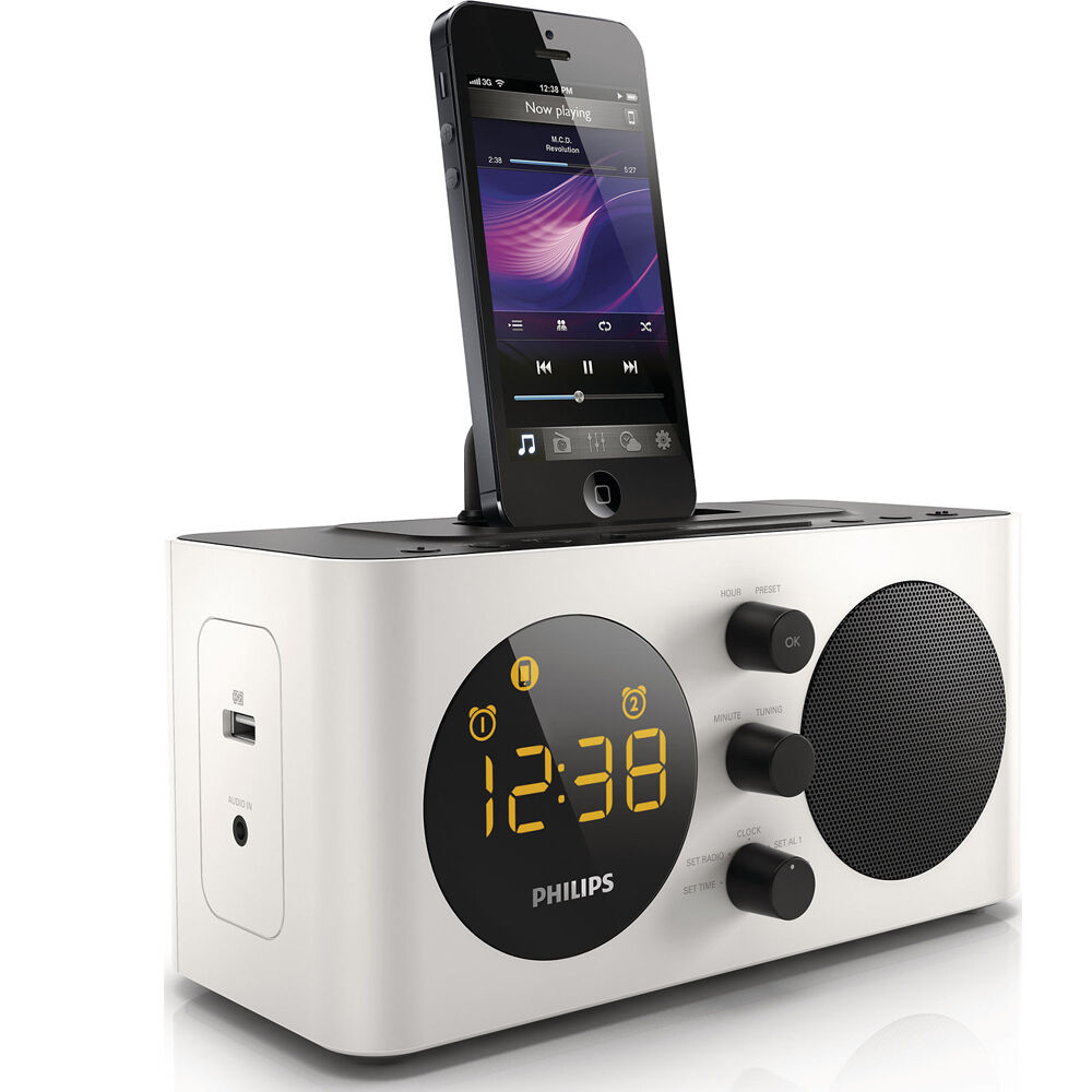 philips aj6200d fm alarm clock radio dock docking station for iphone 5 5s 6 ipod ebay. Black Bedroom Furniture Sets. Home Design Ideas