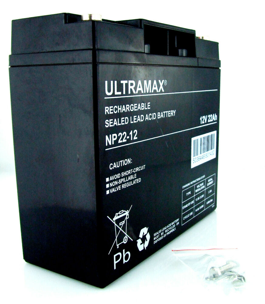 lawn mower battery ultramax agm gel 12v 22ah replace 17ah. Black Bedroom Furniture Sets. Home Design Ideas