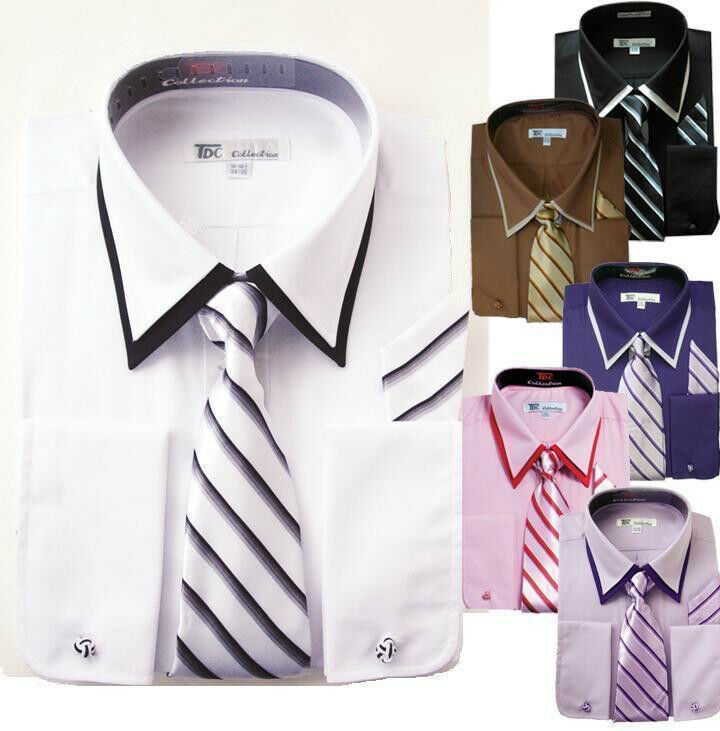 Men 39 S French Cuff Double Collar Solid Dress Shirt Set 14