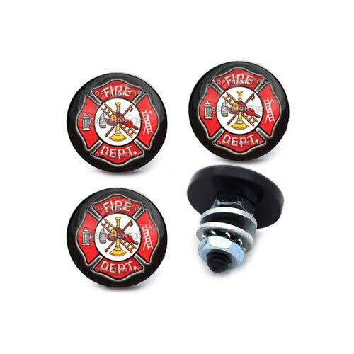 4 Custom Black Quot Fire Dept Quot License Plate Frame Bolts