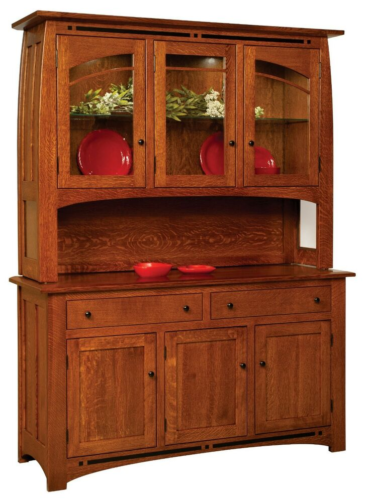 Amish boulder creek mission hutch buffet server china for A dining room hutch