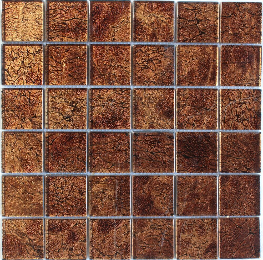 Brown foil glass mosaic tile 2 x2 bath kitchen backsplash wall ebay Backsplash mosaic tile