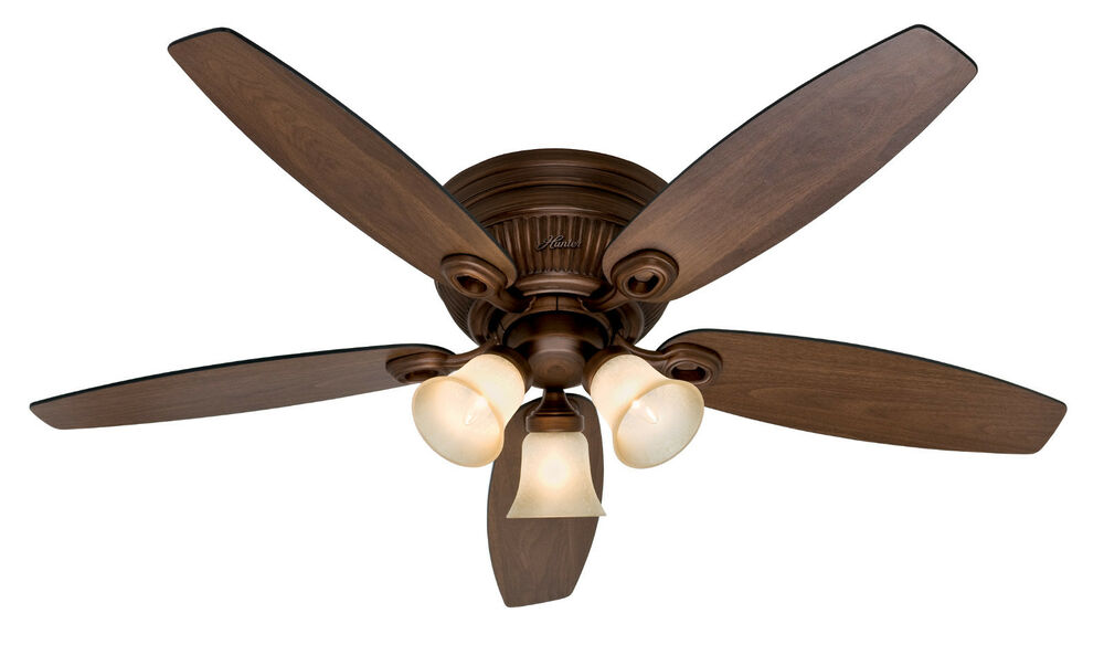 hunter 52 bronze flush mount hugger pull chain light ceiling fan hr. Black Bedroom Furniture Sets. Home Design Ideas