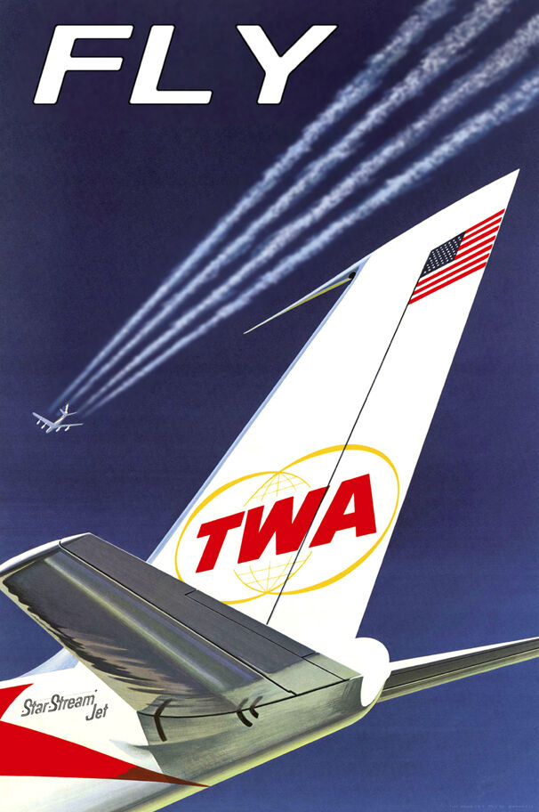 FLY TWA Trans World Airlines Boeing 707 New Retro Travel ...