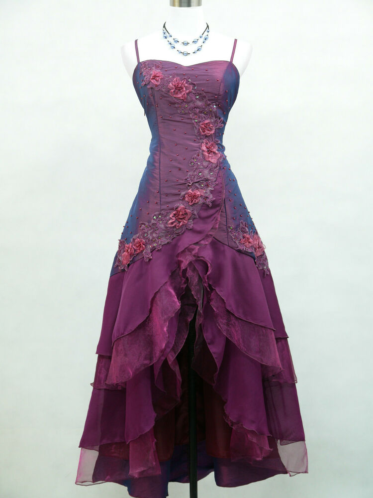 Cherlone satin purple ball wedding evening gown prom for Ebay wedding bridesmaid dresses