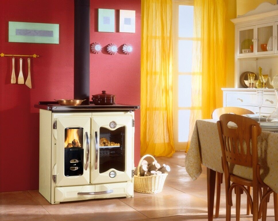 wood cook stove la nordica mamy cream cooking range baking oven ebay. Black Bedroom Furniture Sets. Home Design Ideas