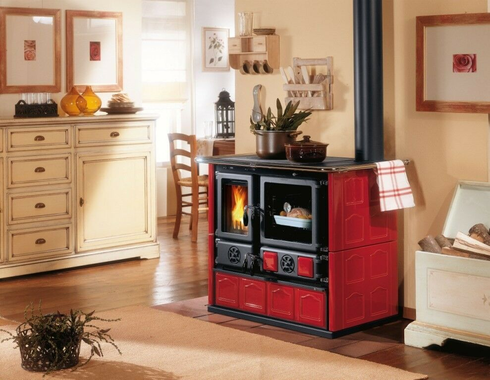 wood burning cook stove la nordica rosa maiolica bordeaux cooking range oven ebay. Black Bedroom Furniture Sets. Home Design Ideas