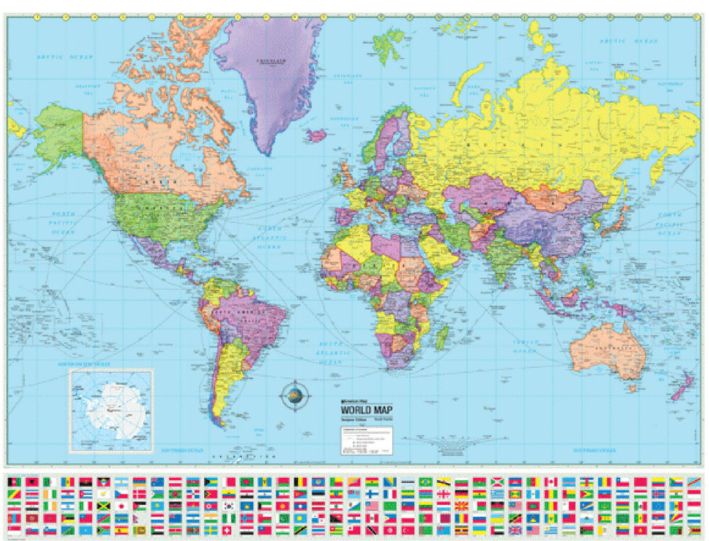 world wall map poster political flags home office school. Black Bedroom Furniture Sets. Home Design Ideas