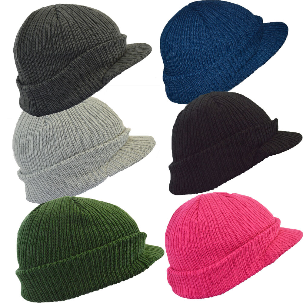 Knitting Pattern For Peaked Beanie : Euro Peaked Knitted Winter Beanie Cap Hat in 6 Colours eBay