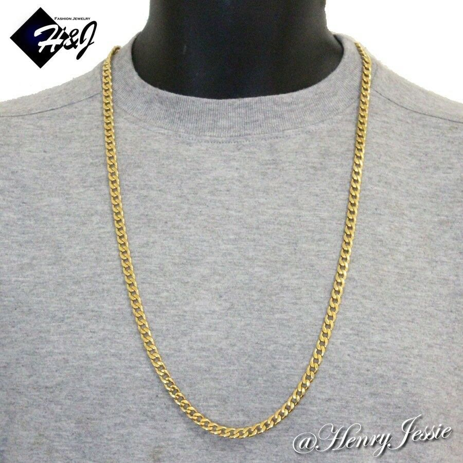 30 Quot Men S Stainless Steel 6mm Gold Cuban Curb Link Chain