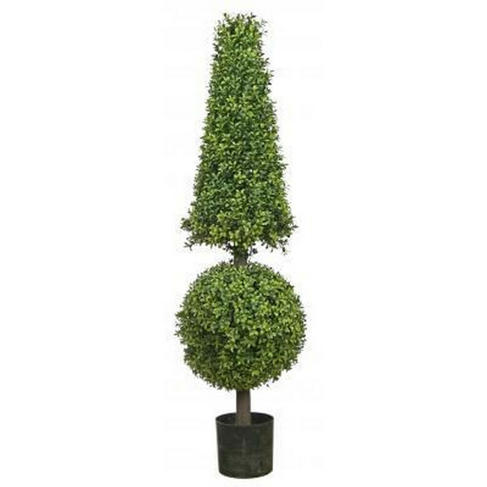 "Indoor Evergreen Trees: 50"" Artificial Boxwood Cone Ball TopiaryTree Outdoor 4' 2"