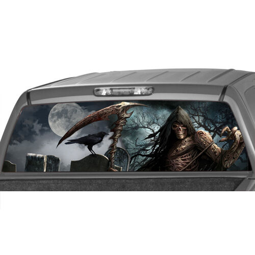 Grim Reaper Cemetery Rear Window Graphic Tint Decal