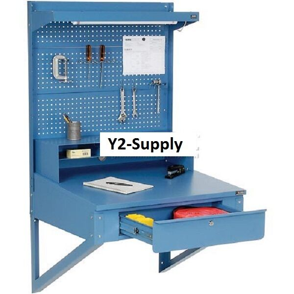 New Wall Mount Shop Desk With Pegboard Riser Ebay
