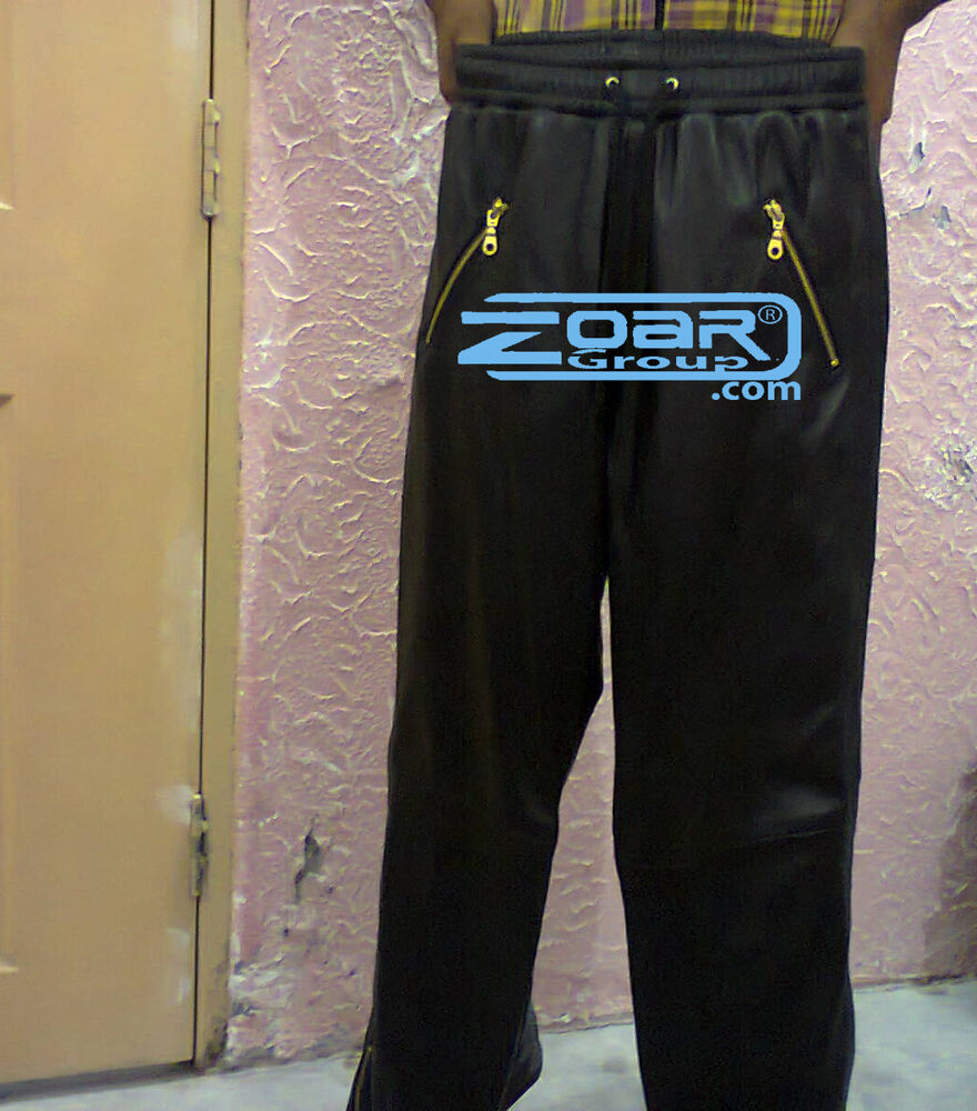 Men Jogging Pants, Lamb leather Sweat Pants, leather joggers, Jogger with zips | eBay