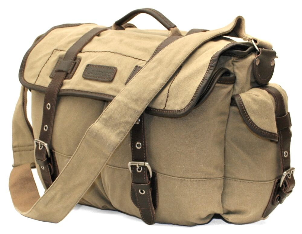Fine Quality Waxed Canvas Tackle Amp Equipment Messenger Bag