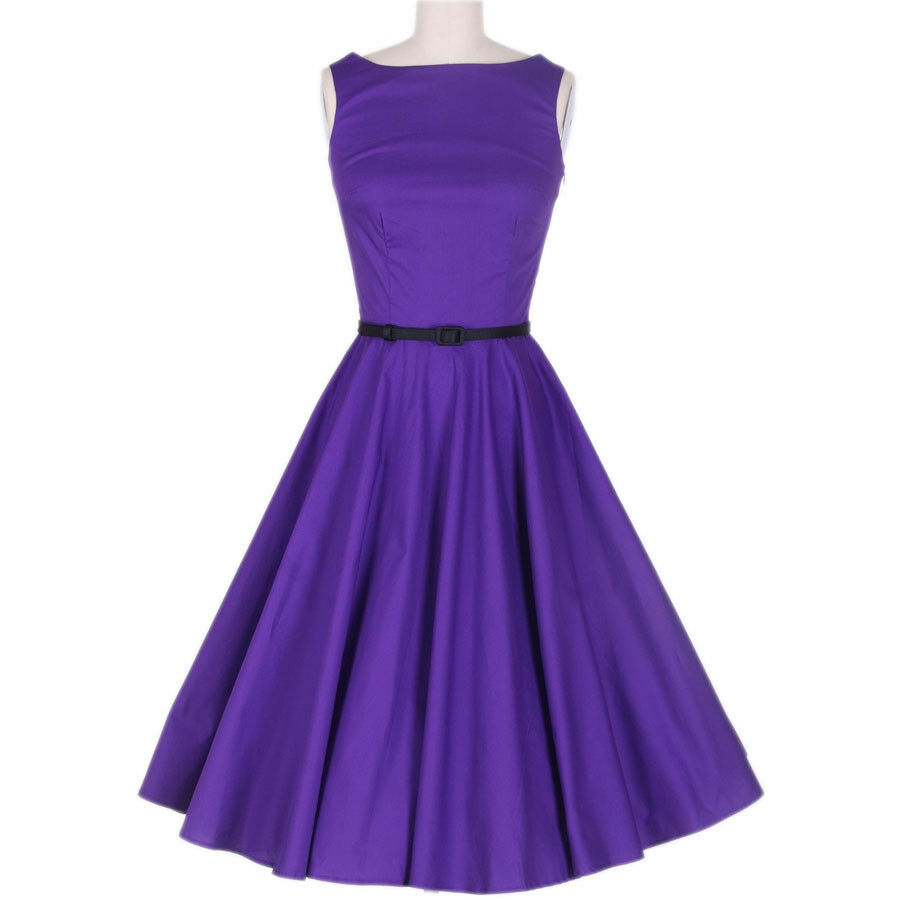 Vintage 50s Rockabilly Bombshell Pinup Womens Purple Dress ...
