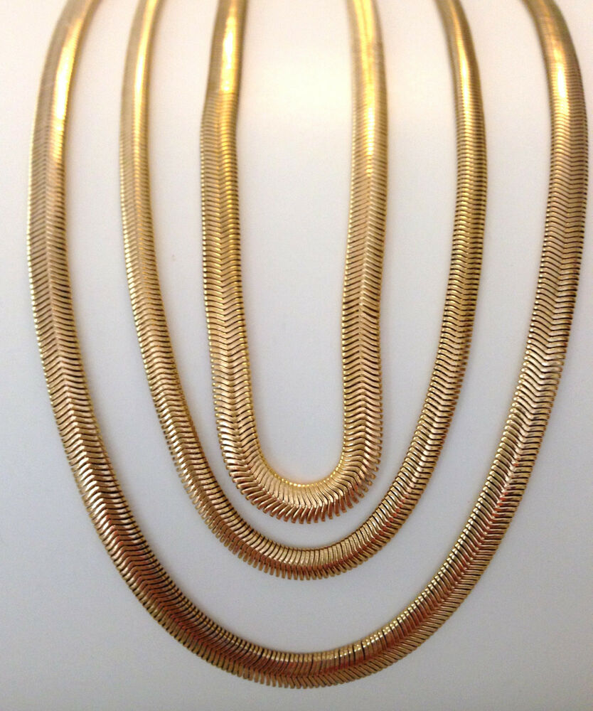 Harron Bone Necklace: 24K Gold Plated Stainless Steel Herringbone Snake Necklace