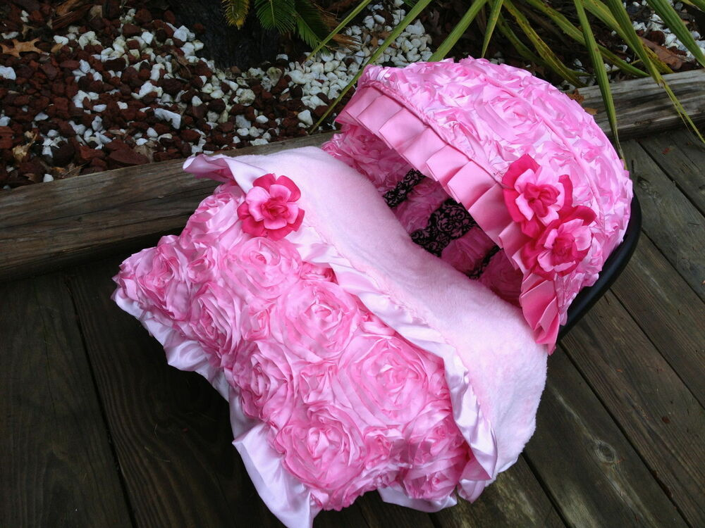 Set Baby Pink Infant Car Seat Cover Canopy Cover Blanket