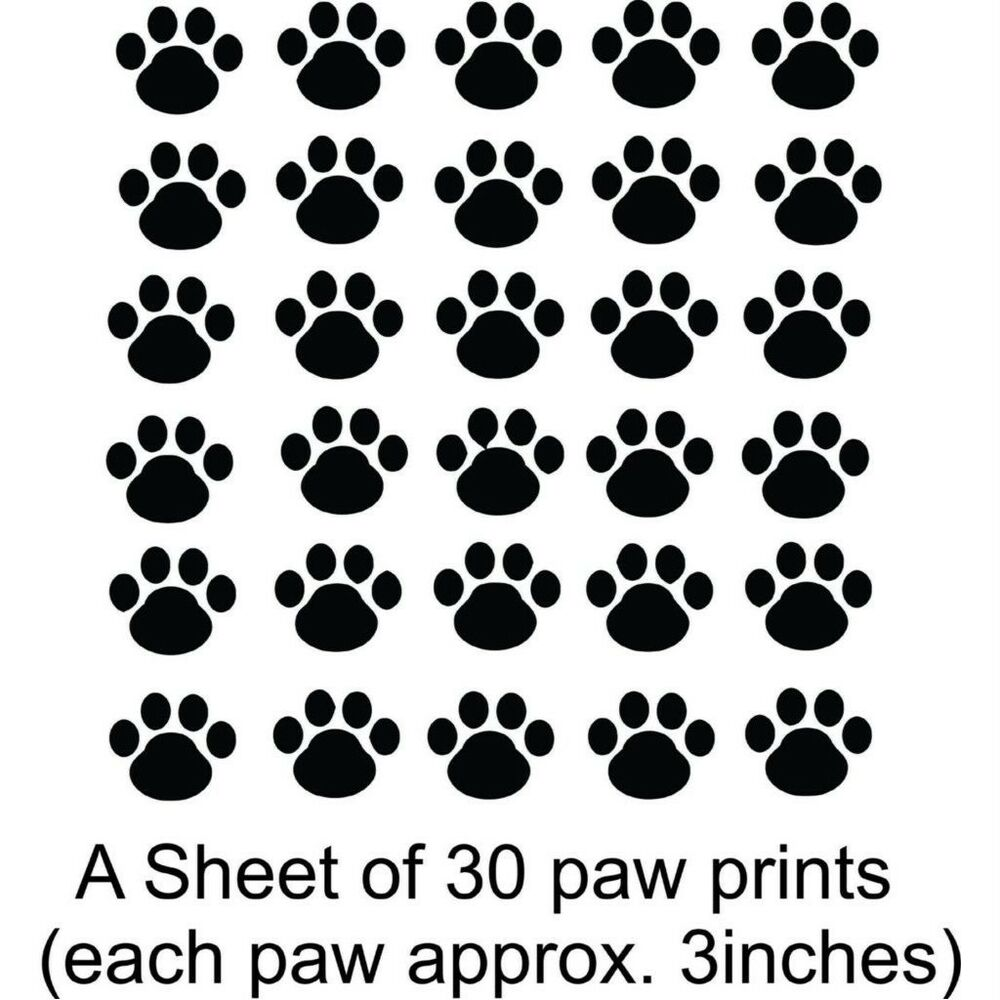 "Dog Paw Prints: Sheet of 30 3"" Wide Paws Vinyl Wall Decal ..."