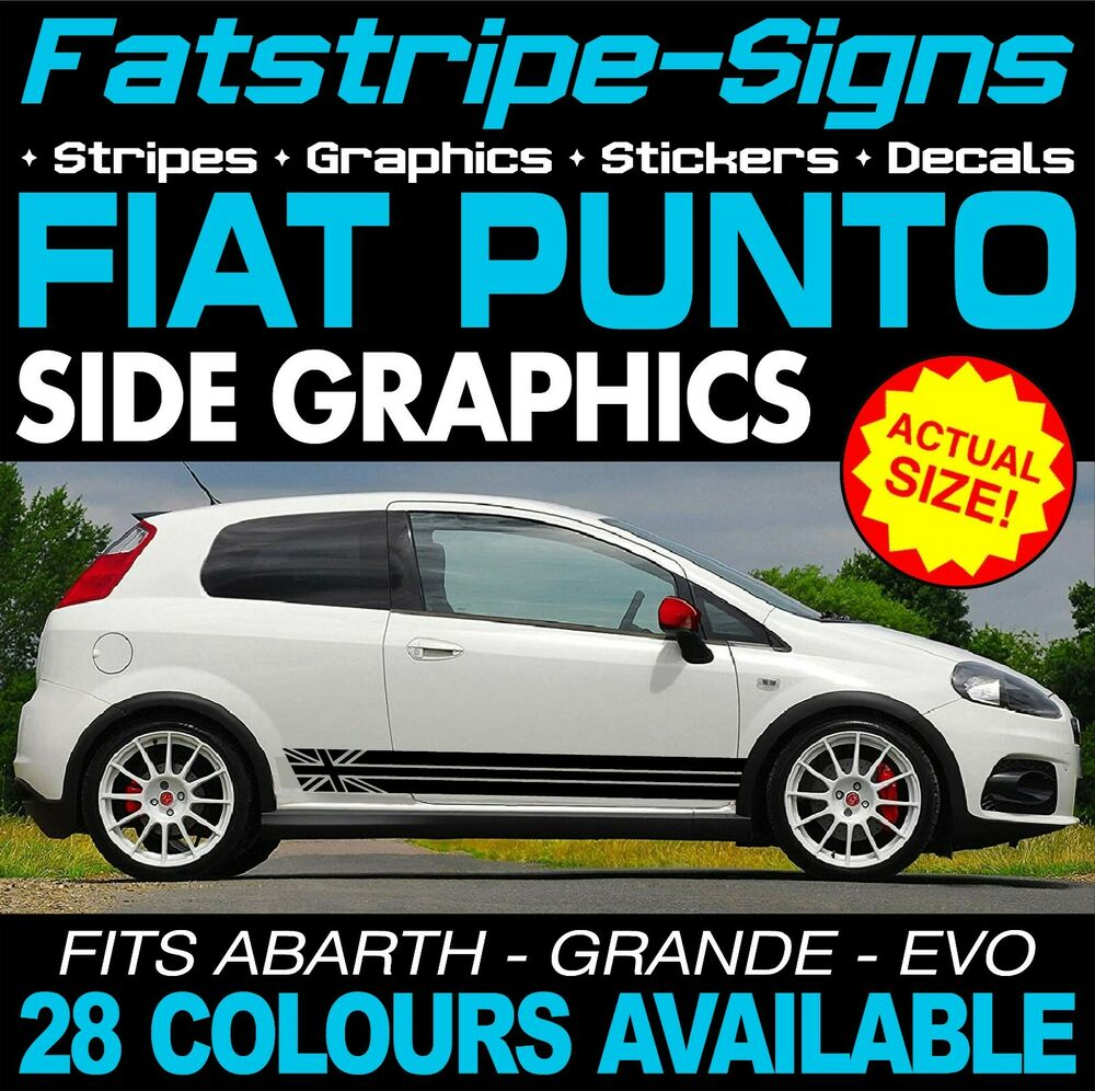 fiat punto graphics decals car vinyl stickers stripes grande evo 1 2 1 4 2 0 ebay. Black Bedroom Furniture Sets. Home Design Ideas