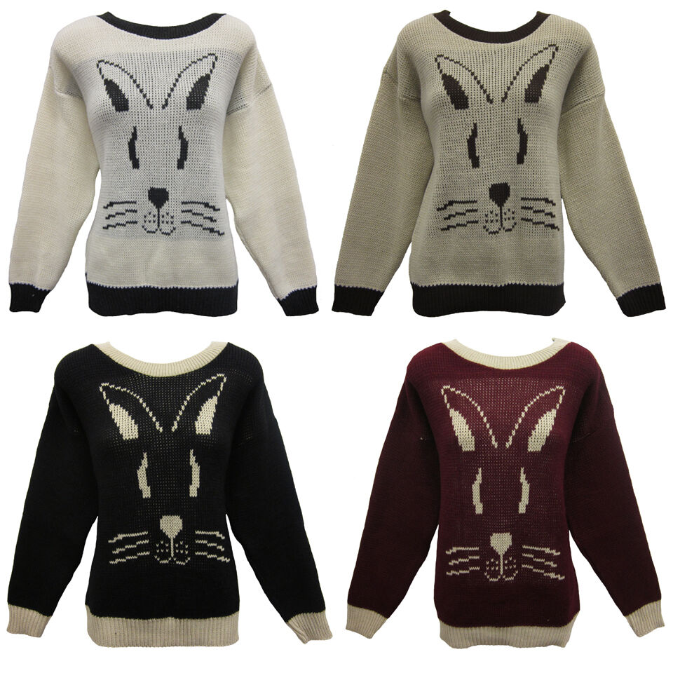 Knit Rabbit Sweater Pattern : Ladies rabbit face jumper knitted womens sweater chunky