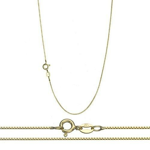 Thin Gold Chain Bracelet: 18K Gold Over .925 Silver 0.8mm Thin Box Chain Necklace