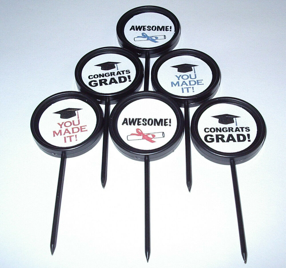 12 Custom Graduation Cupcake Cake Toppers Food Picks Snack Appetizer ...: www.ebay.com/itm/12-CUSTOM-GRADUATION-CUPCAKE-CAKE-TOPPERS-FOOD...
