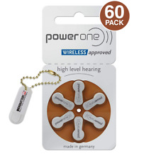 Power One Hearing Aid Batteries PR41, P312, Size 312 (60 Batteries) + Keychain