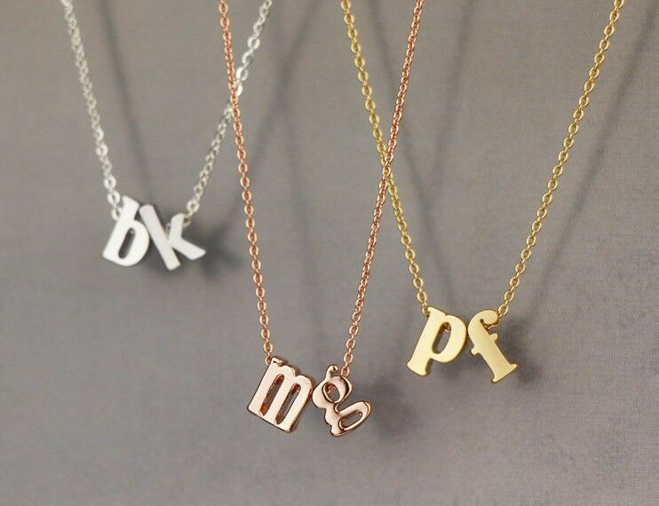 Double lowercase initial necklace n001 gold silver rose for Lowercase letter necklace