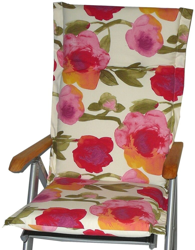 gartenstuhlkissen sitzauflage polster aquarell rosen motiv f r gartenm bel ebay. Black Bedroom Furniture Sets. Home Design Ideas