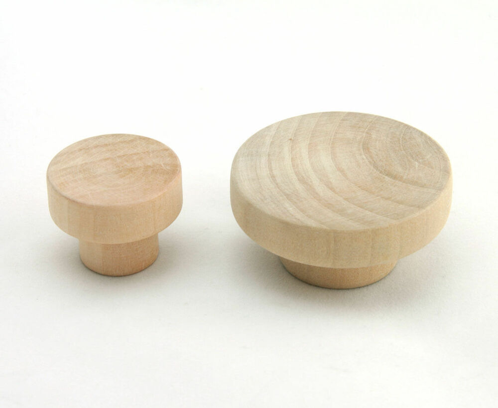 Flat Head Cabinet Knobs Wooden Unfinished Drawer Pulls