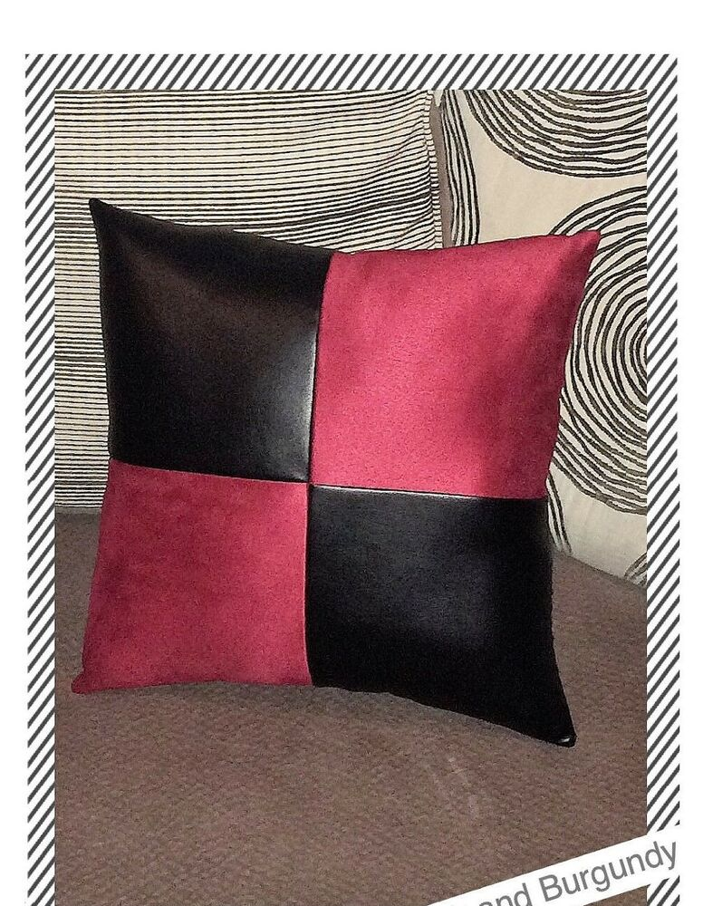Decorative Pillows For Brown Leather Couch : Home sofa brown leather burgundy fabric accent decorative cushion pillow cover eBay