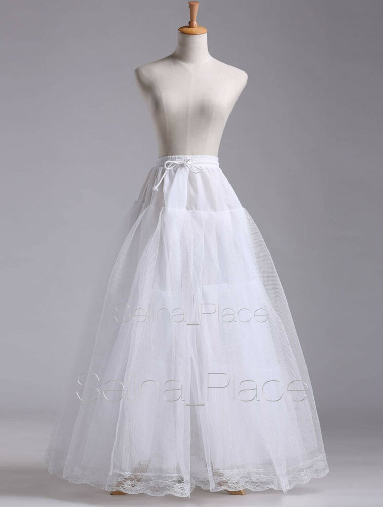White A Line Hoopless Wedding Dress Bridal Gown Crinoline Petticoat Skirt Slip